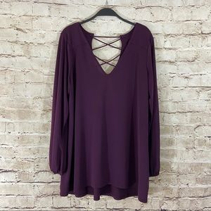 Express purple cross cross long sleeve top large